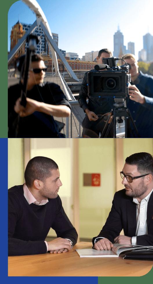 camera crew and talent